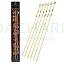 Набор плоских шампуров 60 см 6 шт в блистере gold