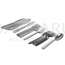 Набор столовых приборов PREMIUM цвет - хром (одноразовые вилки, ложки, ножи по 6 шт в ПВХ боксе, пластик)