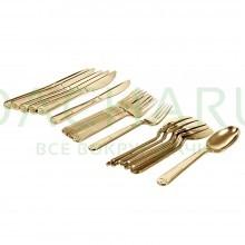 Набор столовых приборов PREMIUM цвет - золото (одноразовые вилки, ложки, ножи по 6 шт в ПВХ боксе, пластик)