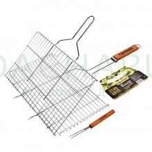 Решетка-гриль для стейков, большая с вилкой, картонный веер в ПОДАРОК