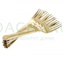 Вилки PREMIUM цвет-золото, одноразовые, пластиковые 6 шт в упаковке